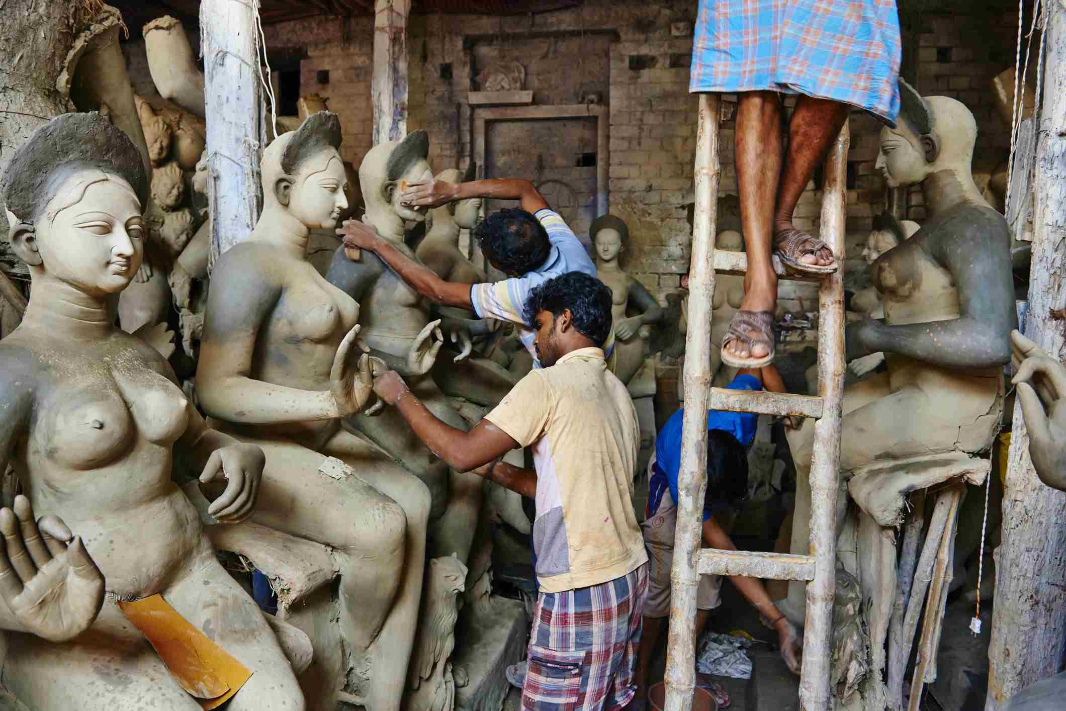 Making Durga.