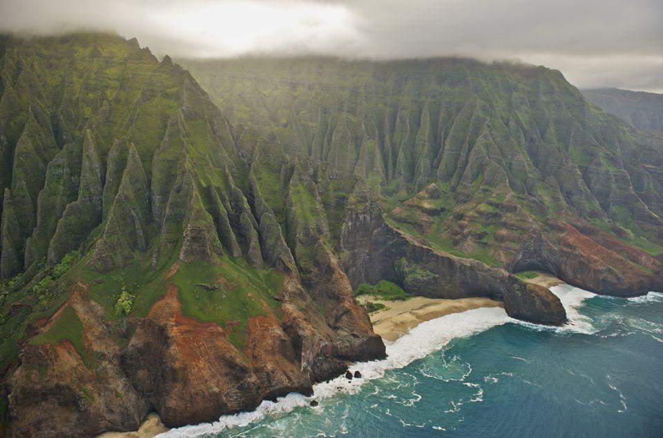 Aerial view of Na Pali Coast, Kauai, Hawaii