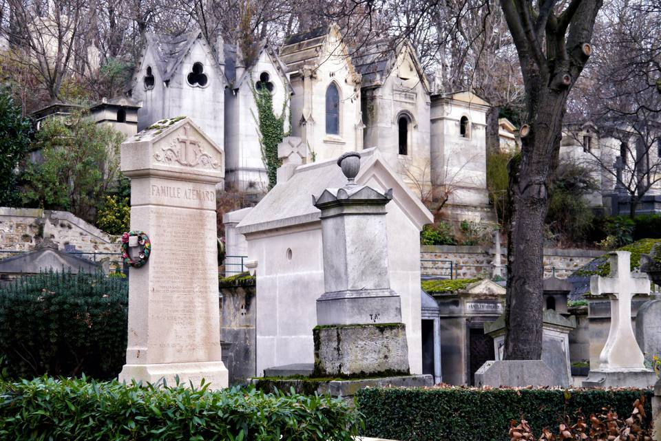 Graves at Père-Lachaise Cemetery in Paris, France