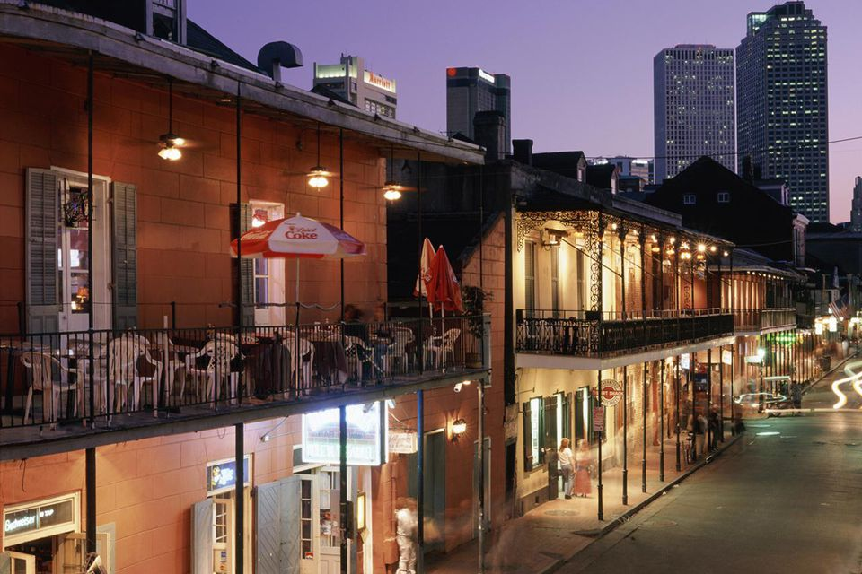 The famous and historic Bourbon Street runs the length of the French quarter in New Orleans.
