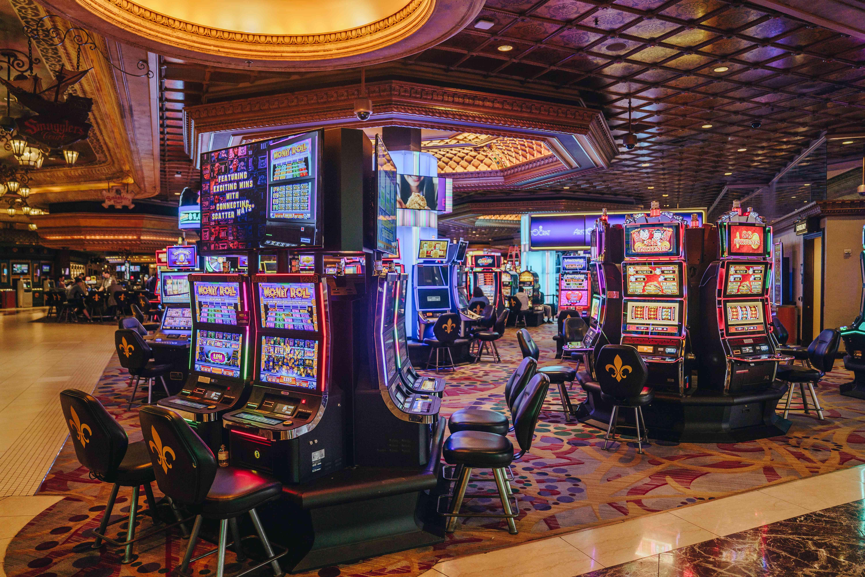 Several slot machines inside Harrah's