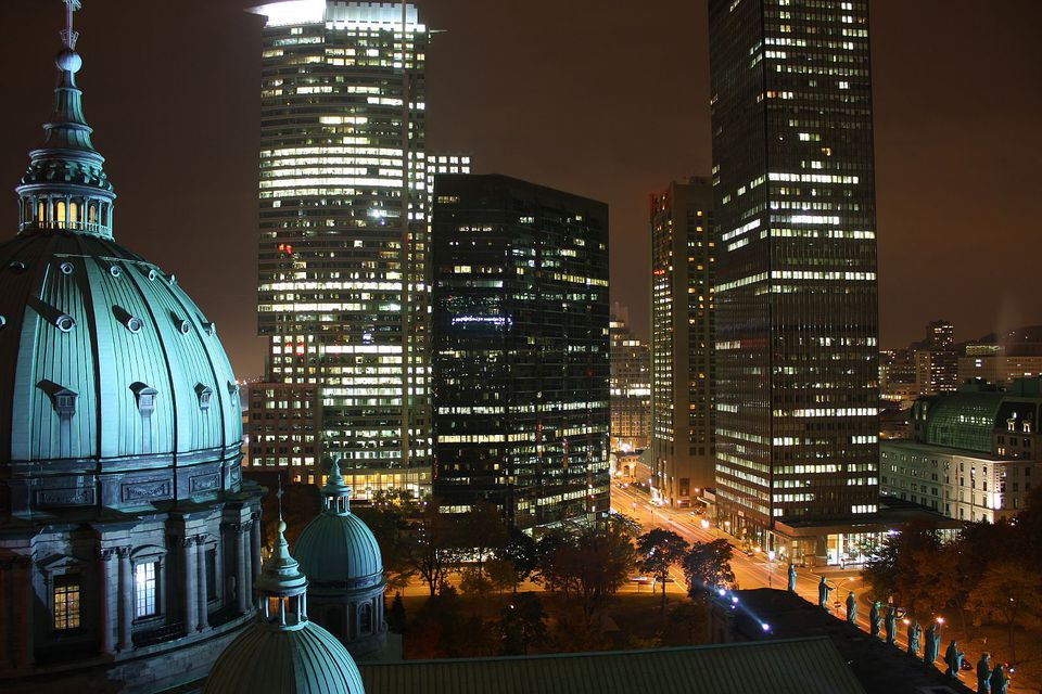 Montreal cathedral and St. Peter's Basilica replica Mary Queen of the World might seem out of place surrounded by skyscrapers, office buildings and modern city lights, but it was a community focal point long before its sleek neighbors were erected.