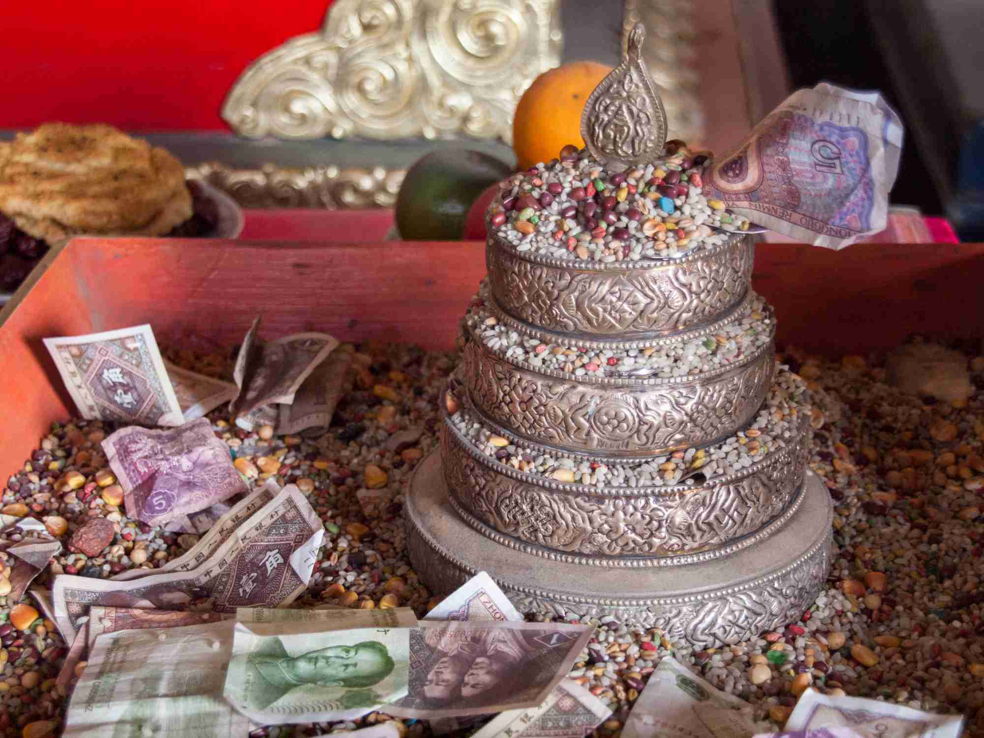 Chinese yuan banknotes offerings in Buddhist temple in Hohhot, Inner Mongolia, China