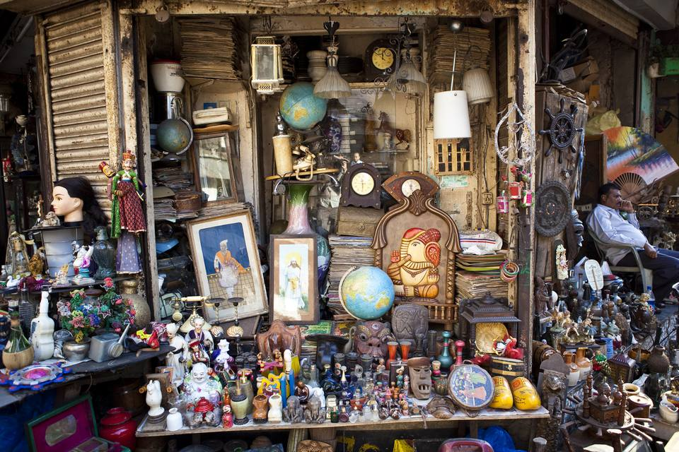 Antiques, original and reproductions, for sale at Chor Bazaar (Thieves Market).