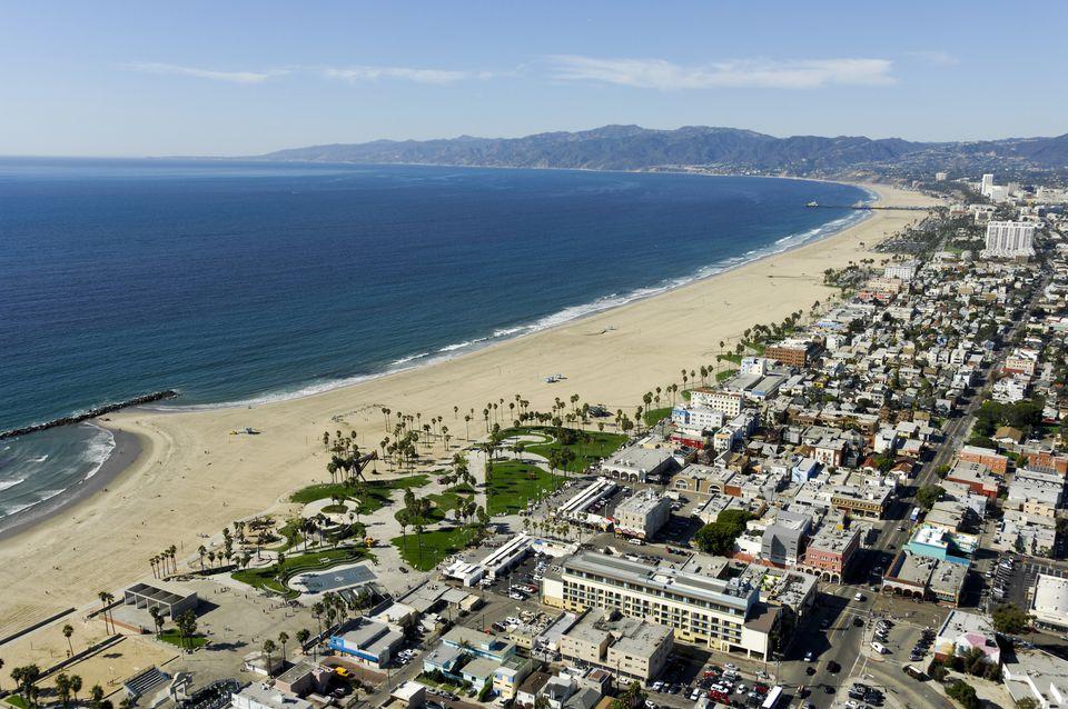 Aerial view of Venice Beach, Los Angeles, California