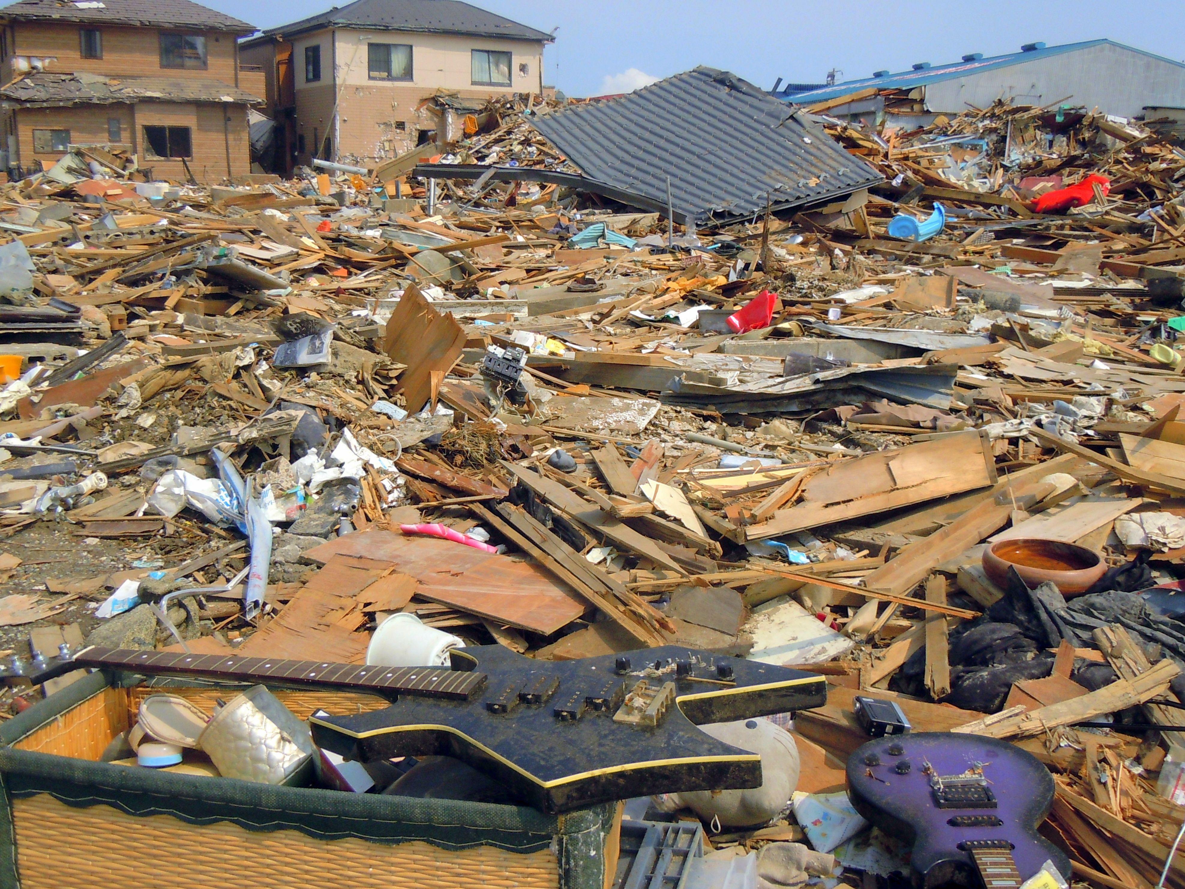 Destruction aftermath of Japan 2011 Tohoku