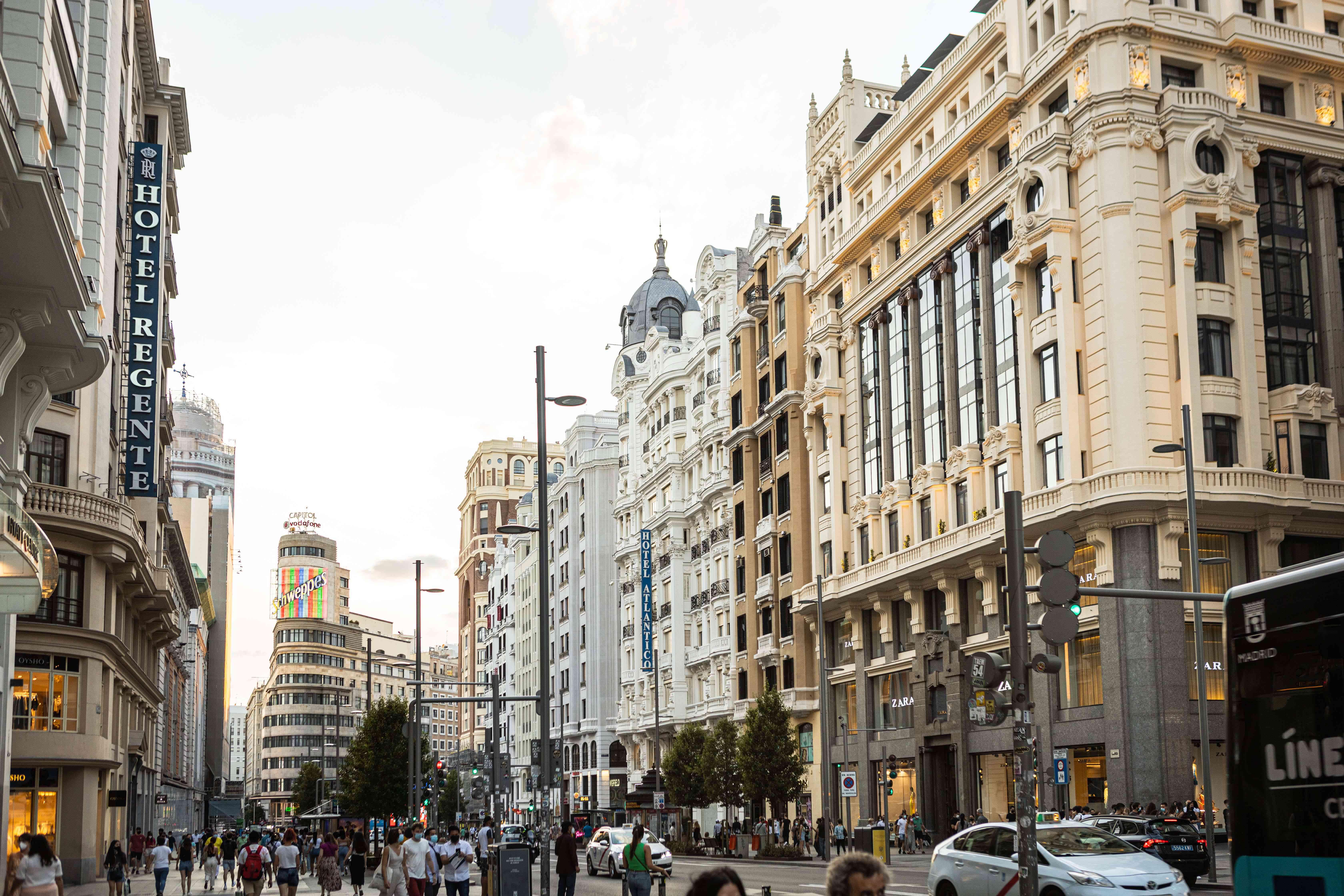 Gran Vía street in Madrid, Spain