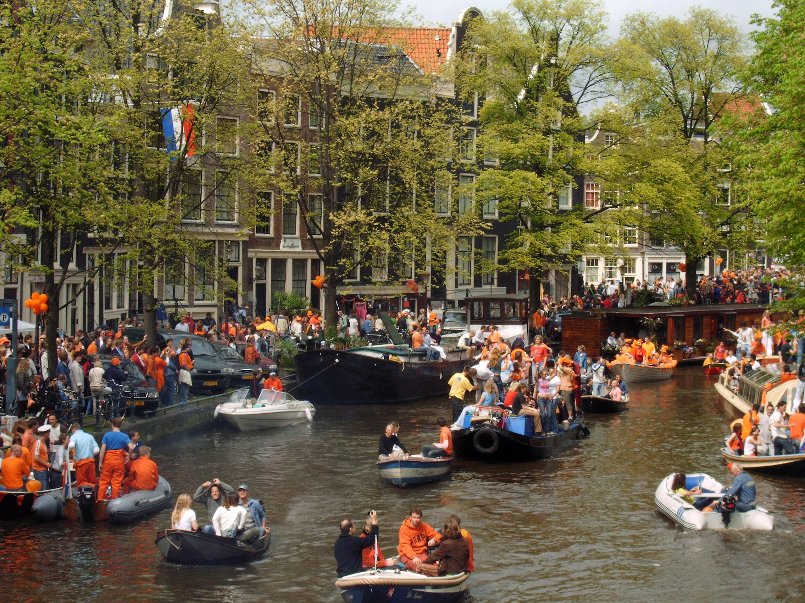 Amsterdam's Canal on King's Day