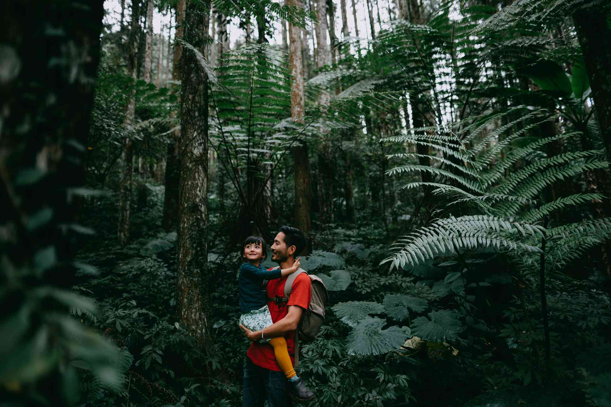 man wearing red t-shirt holding a child in a dense forest of ferns