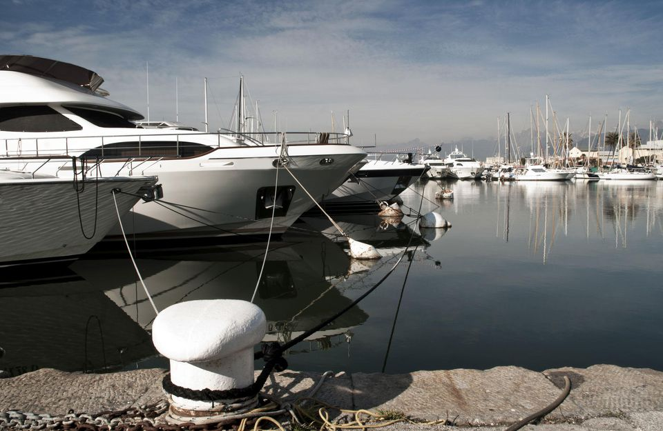 Yacht tied to a dock