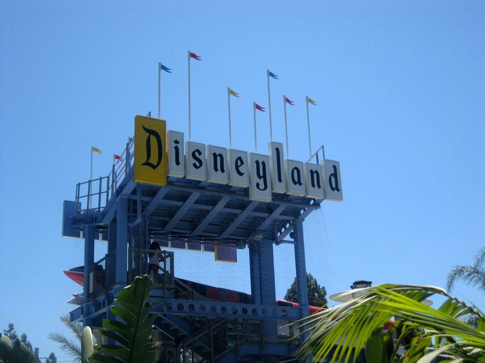 Disneyland Sign at Monorail Slide at Disneyland Hotel in Anaheim