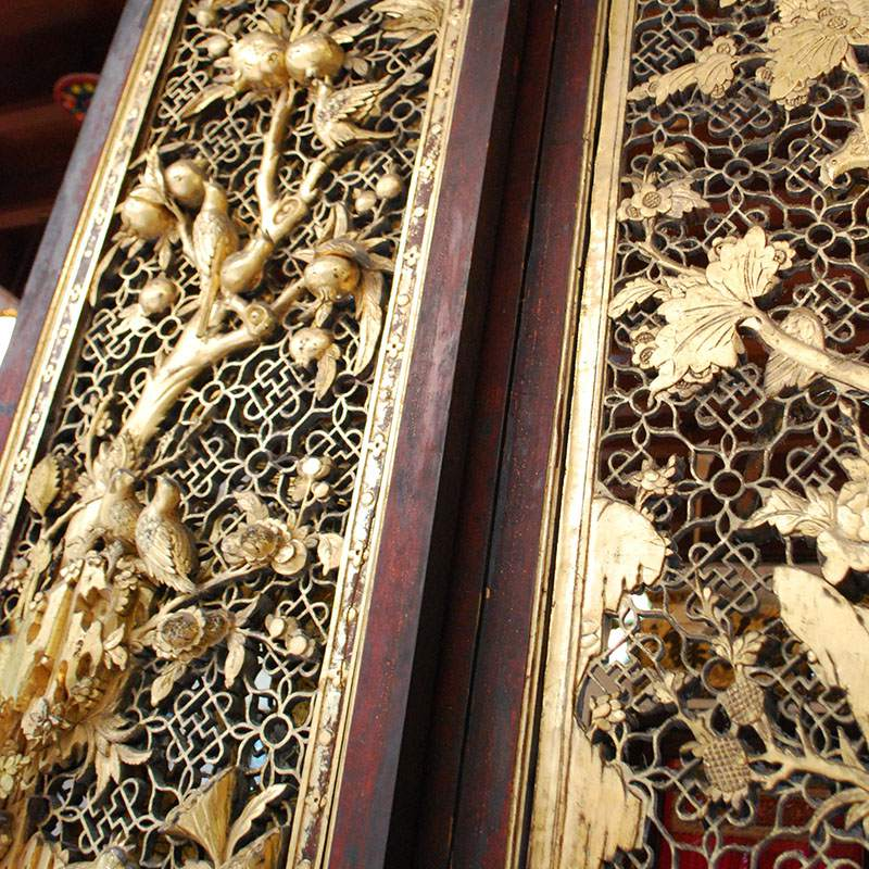 Closeup of Wooden Door Screen, Peranakan Mansion, Penang, Malaysia