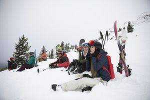 Friends in ski gear