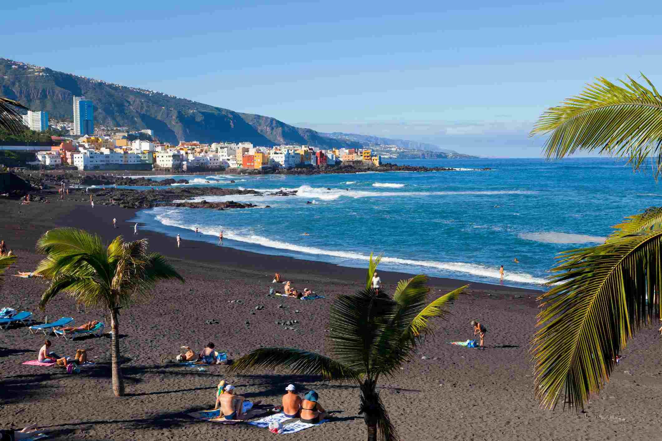 Black sand beach, Playa Jardin, in Puerto de la Cruz, Tenerife
