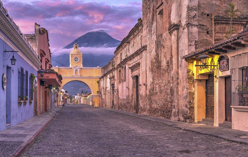 Santa Catalina Arch, Antigua, Guatemala, at sunrise