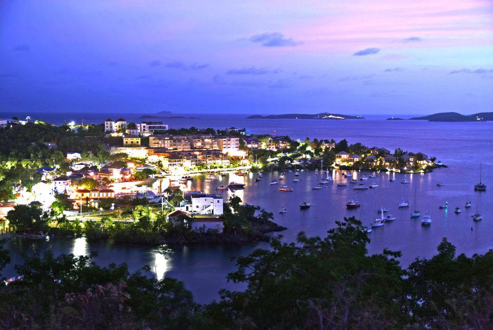 Coast of the island on St. John at dusk