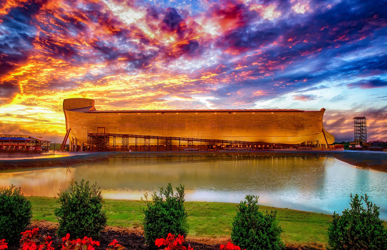 Ark Encounter ark at sunset