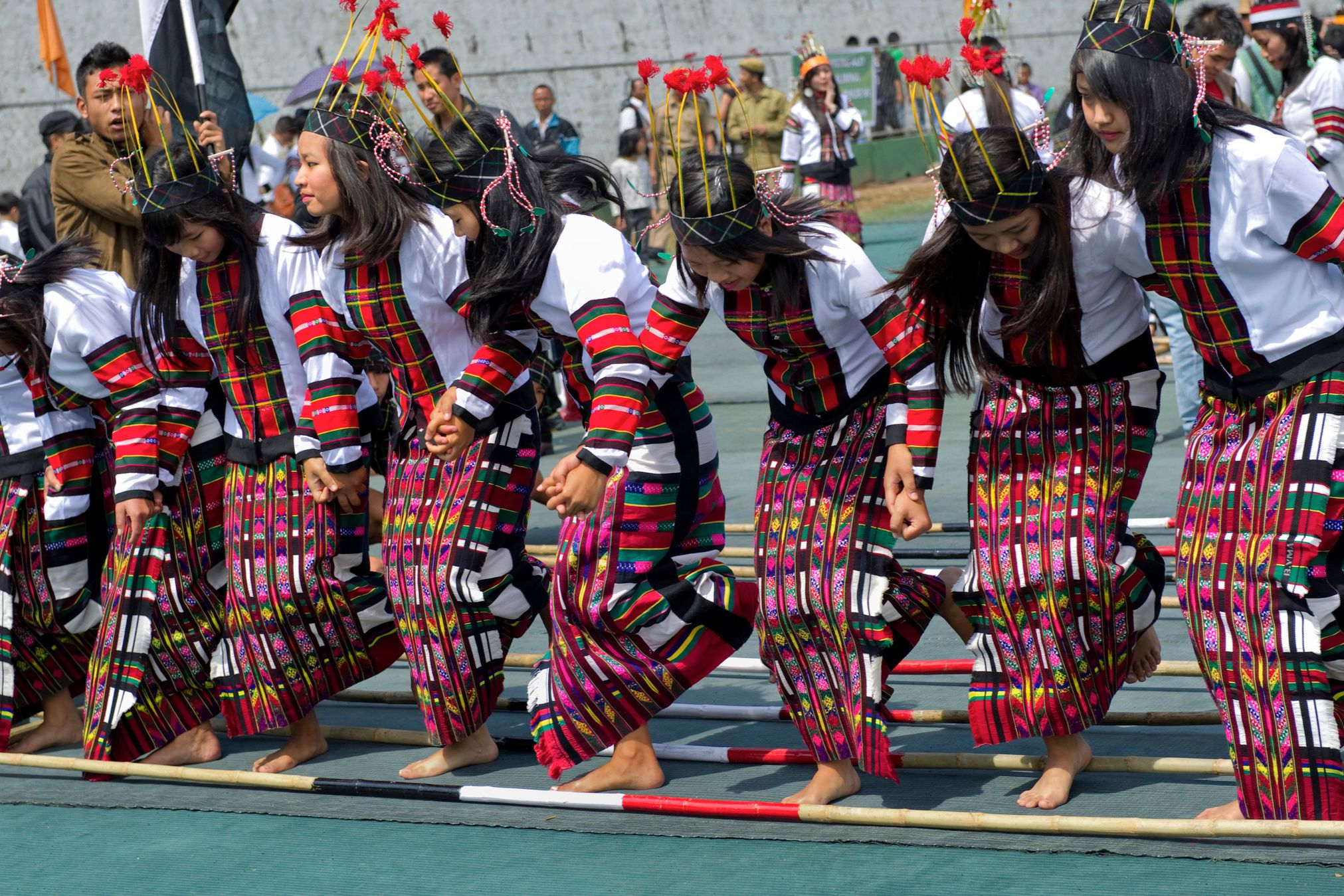 Girls in position for dance at Chapchar Kut harvest festival, Aizawl, Mizoram,