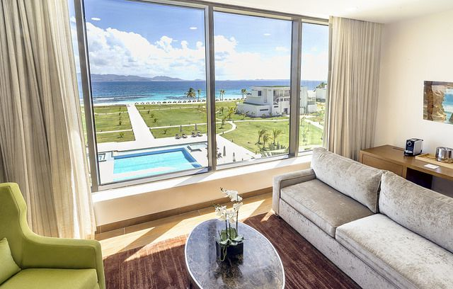 Room and resort view at The Reef, Anguilla