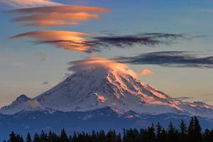 Lenticular Clouds Over Mt Rainier at Sunset