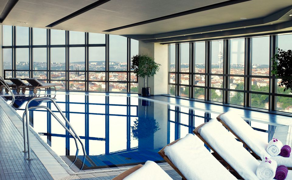 The pool at Corinthia Hotel Prague has the best view in town