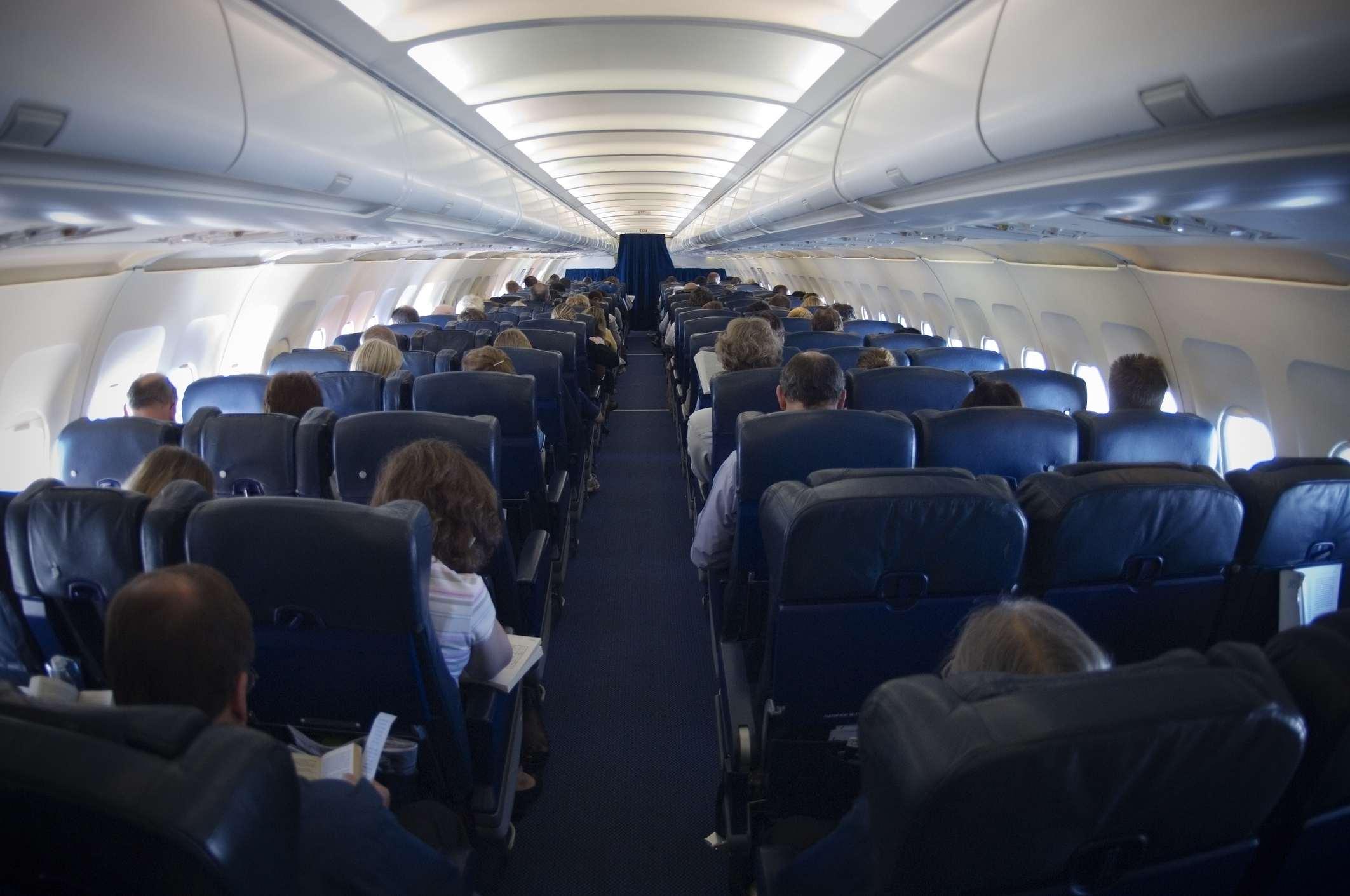Interior of plane with passengers