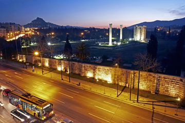 A bus driving through Athens, Greece.