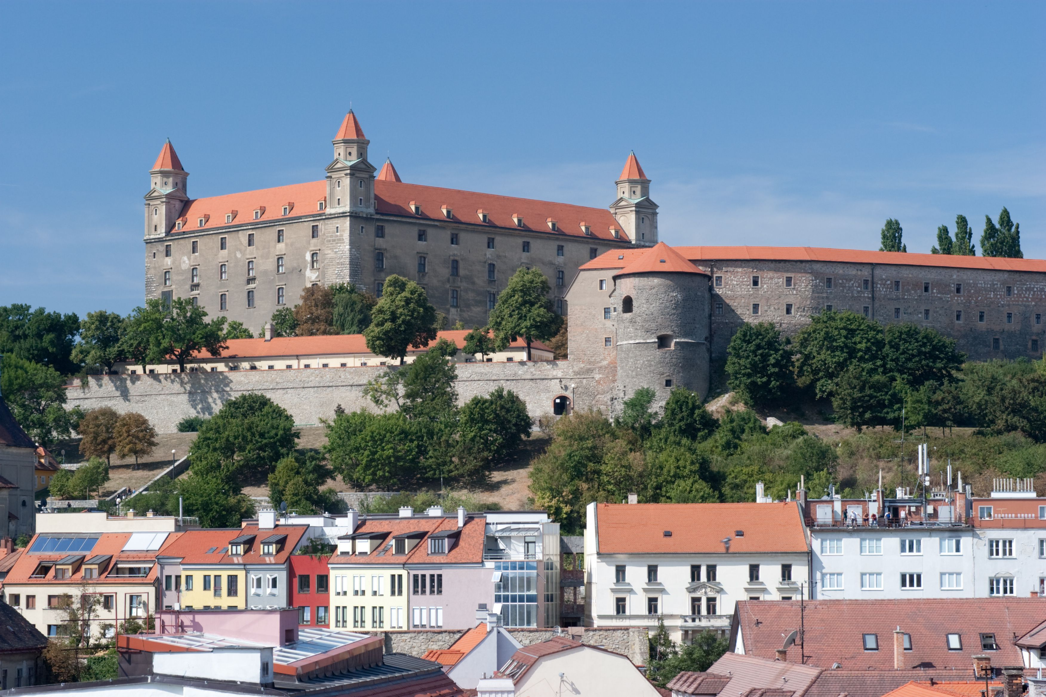 Bratislava Castle with new houses in front.