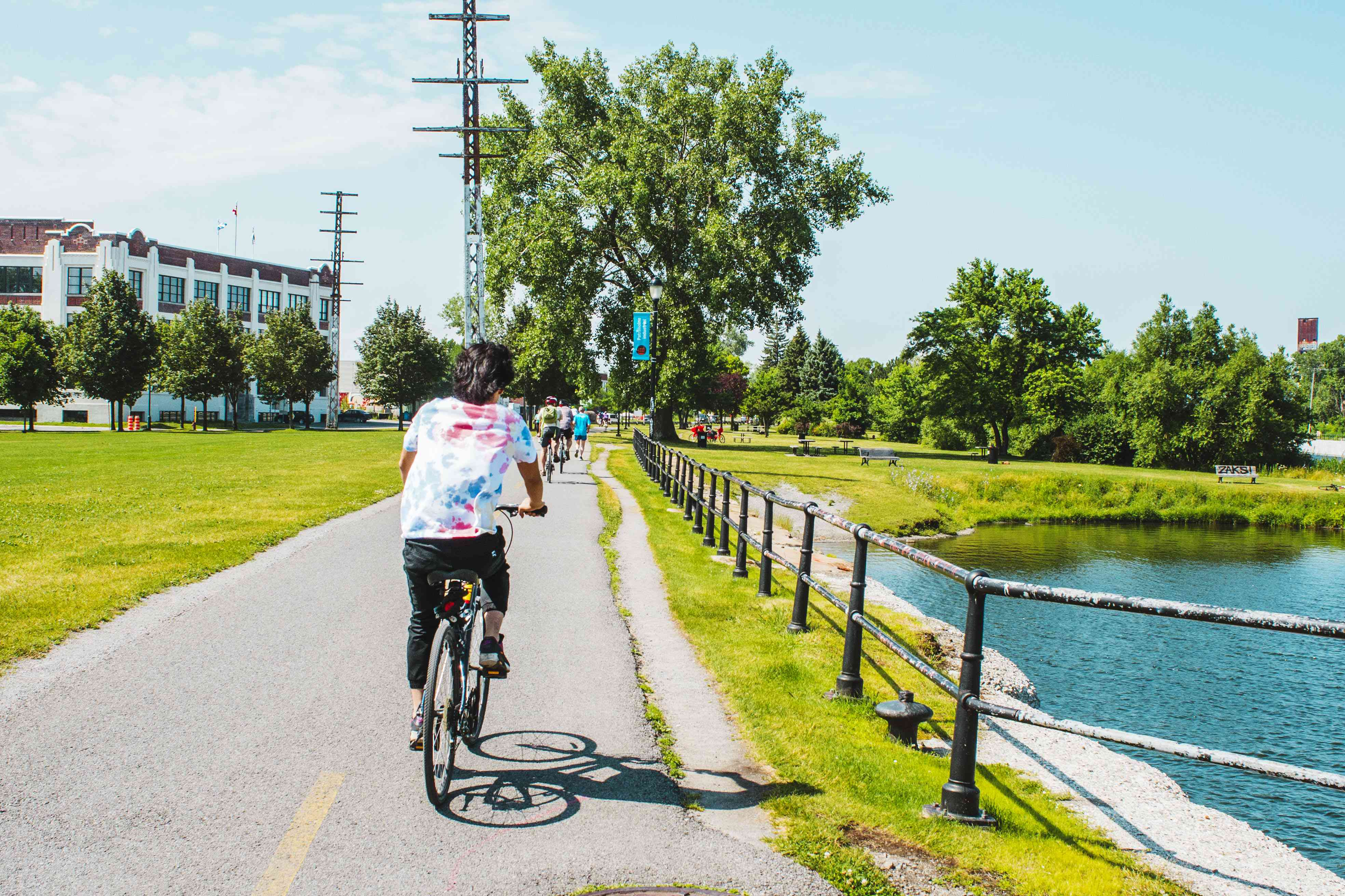 Bikers at Lachine Canal in Montreal