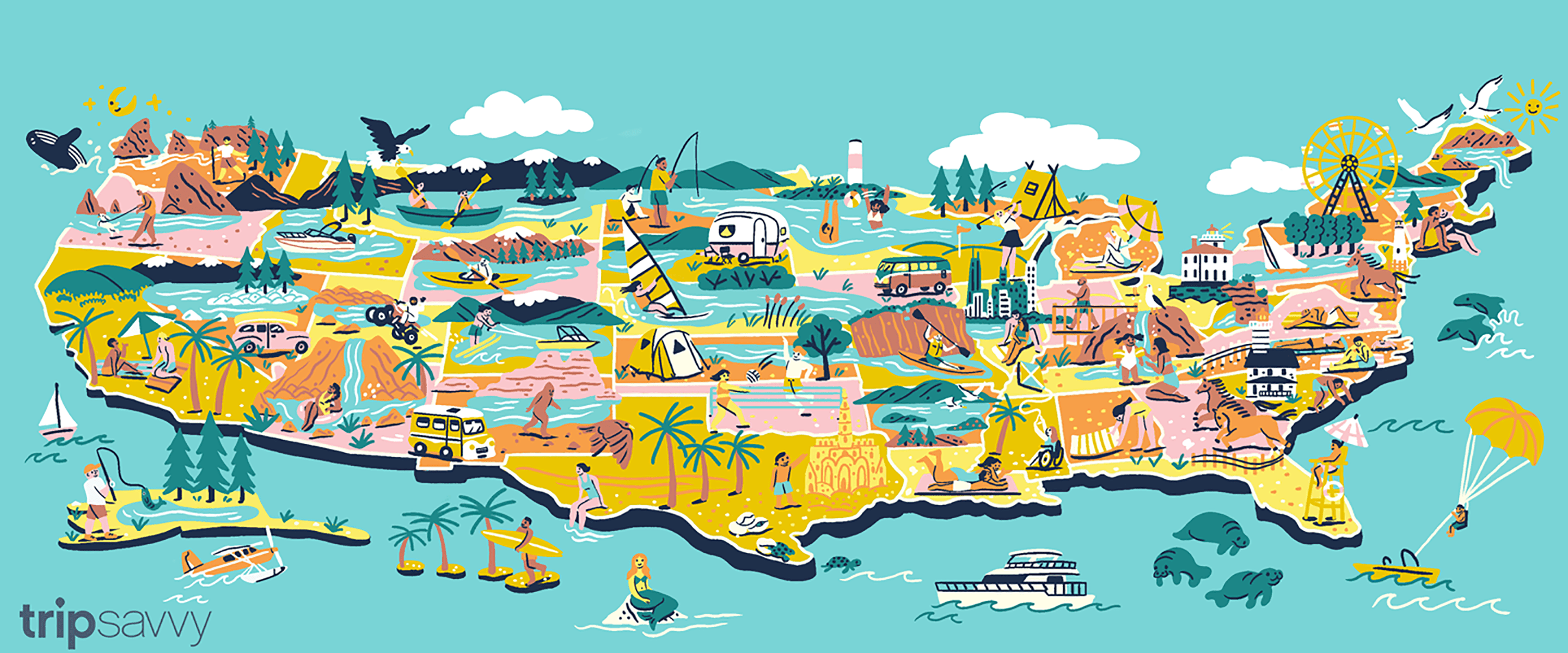 Illustration of the US map showing TripSavvy's picks for best beaches in every state