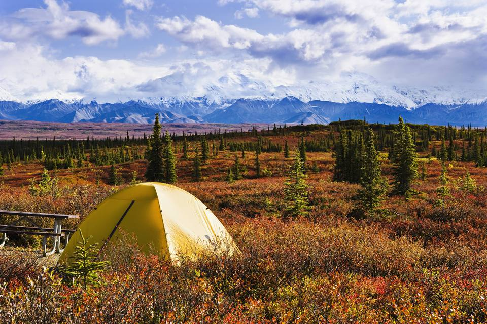 Camping at Wonder Lake in Denali National Park, Alaska