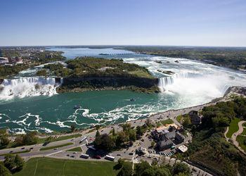 Niagara Falls comprises three waterfalls, from left to right, the American Falls, Bridal Veil Falls and Horseshoe Falls.