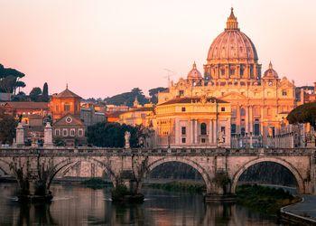 St Peter's Basilica and St. Angelo Bridge, Rome