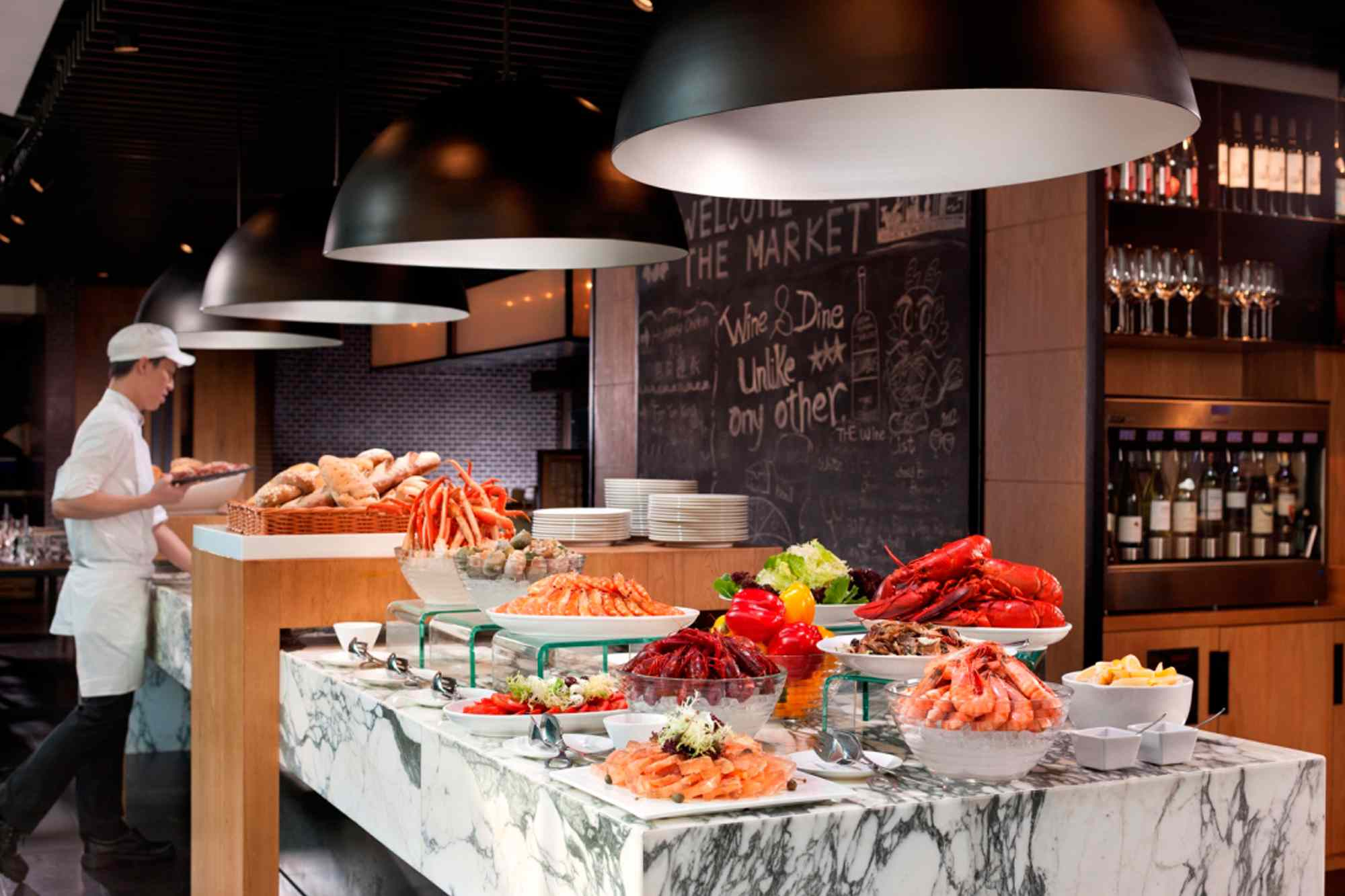 The buffet at The Market in Hotel ICON Hong Kong