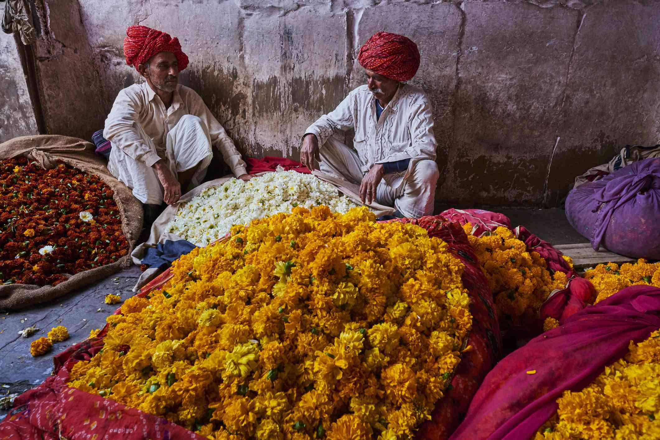 Jaipur flower market.