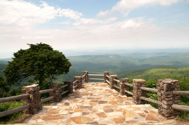 A stone pathway through Mount Magazine State Park