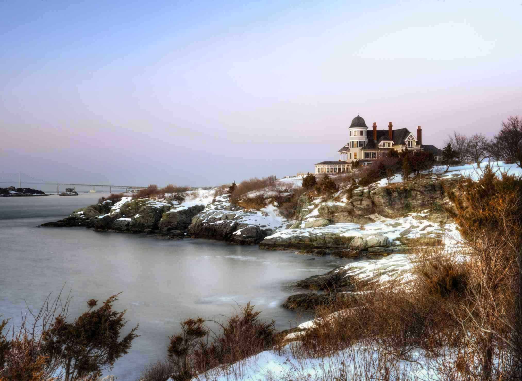 Castle Hill Inn along the snow covered shore, Newport Rhode Island