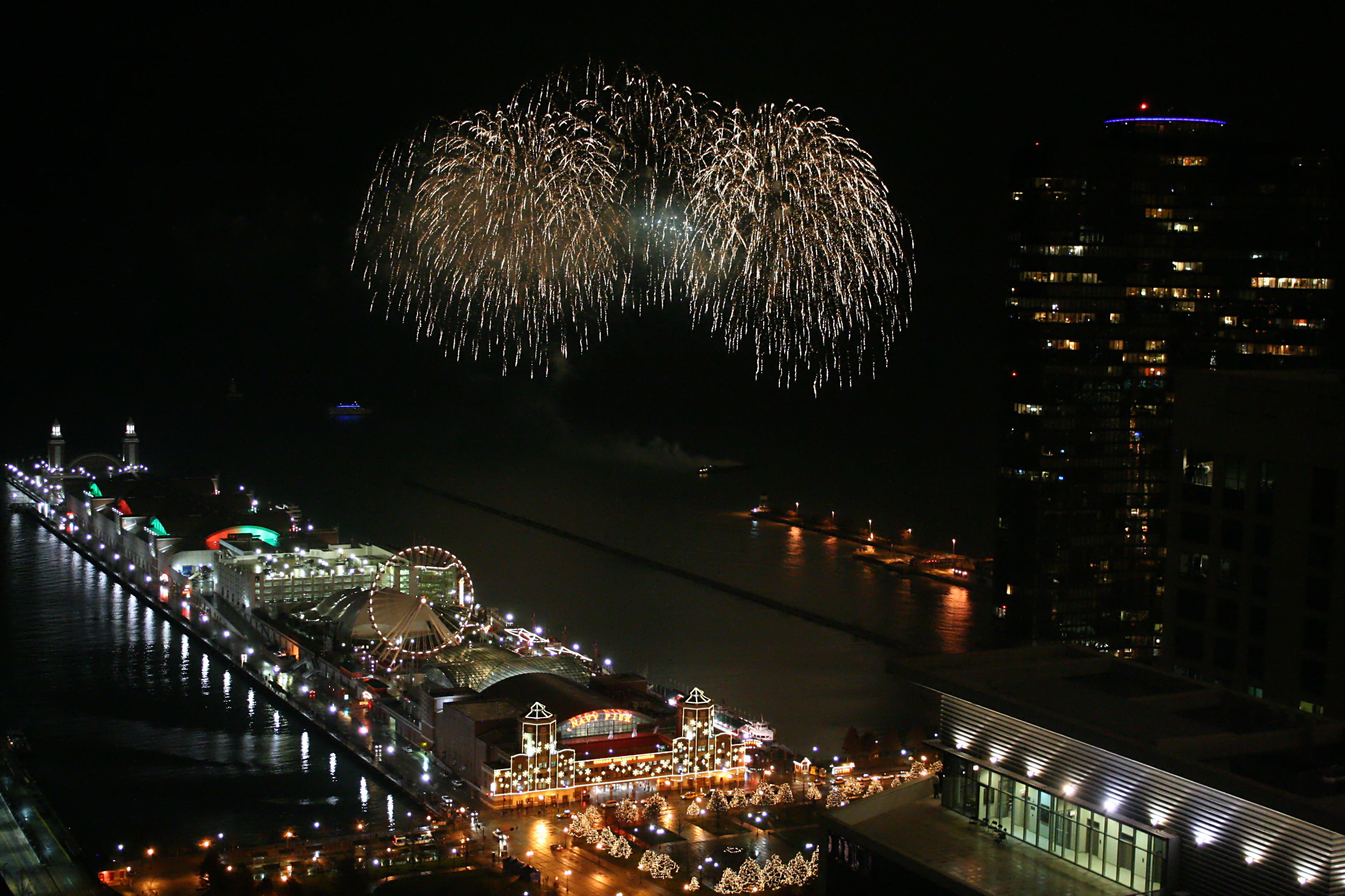 Aerial view of Fourth of July fireworks at Chicago's Navy Pier
