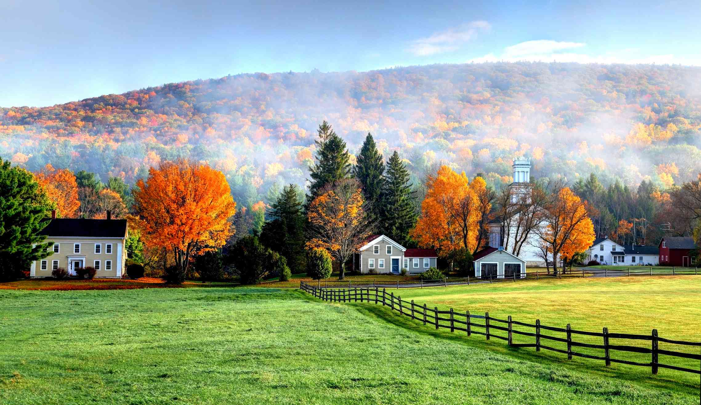 Autumn mist in the village of Tyringham in the Berkshires