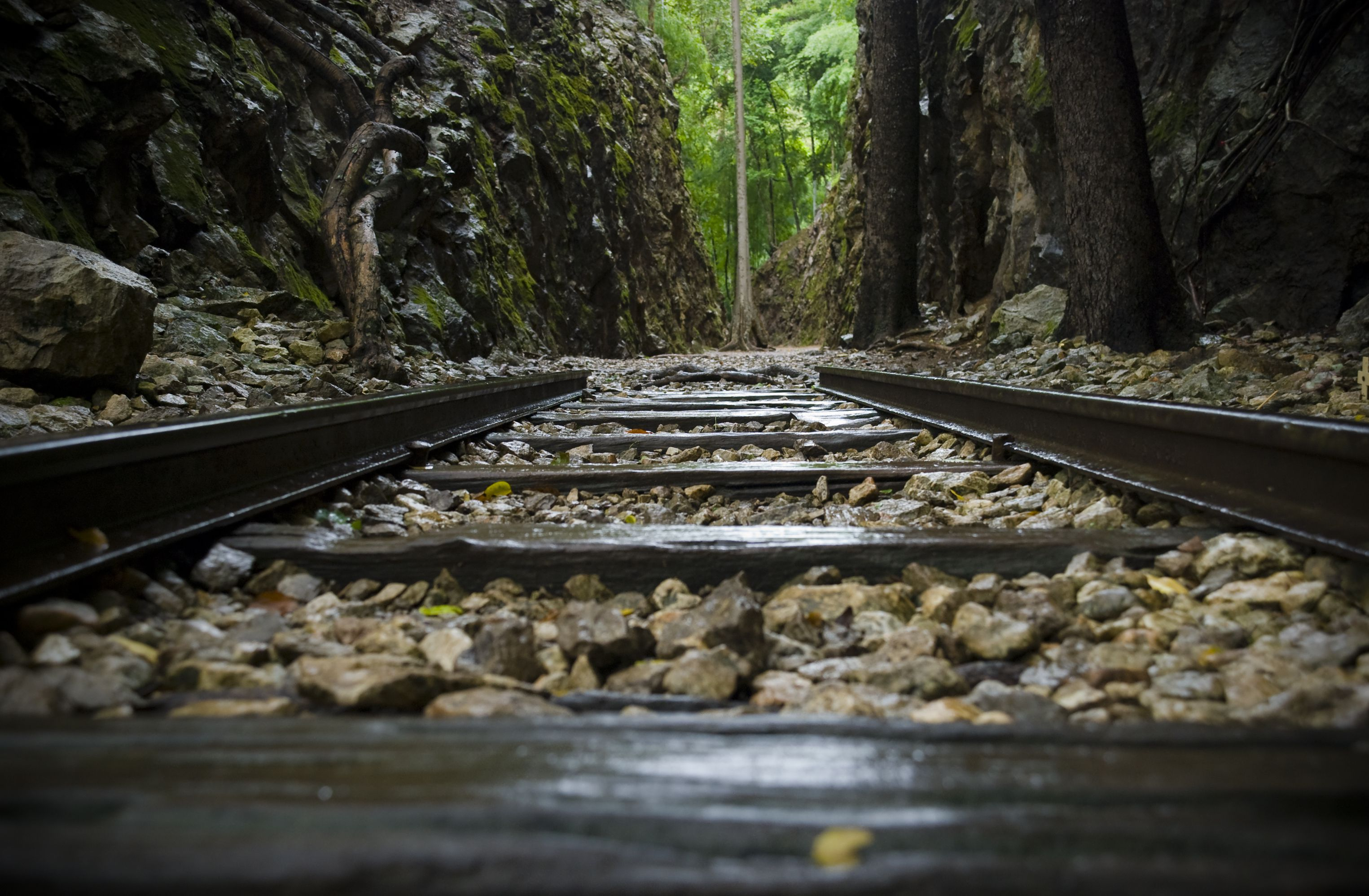 Old tracks from the Death Railway at Hellfire Pass