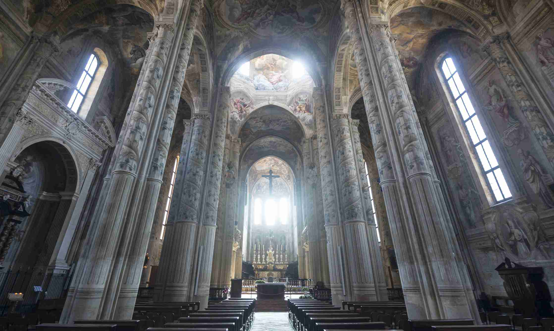 Cathedral of Asti, interior. This church, in baroque style, has plenty of fresco paintings and is open to visits.