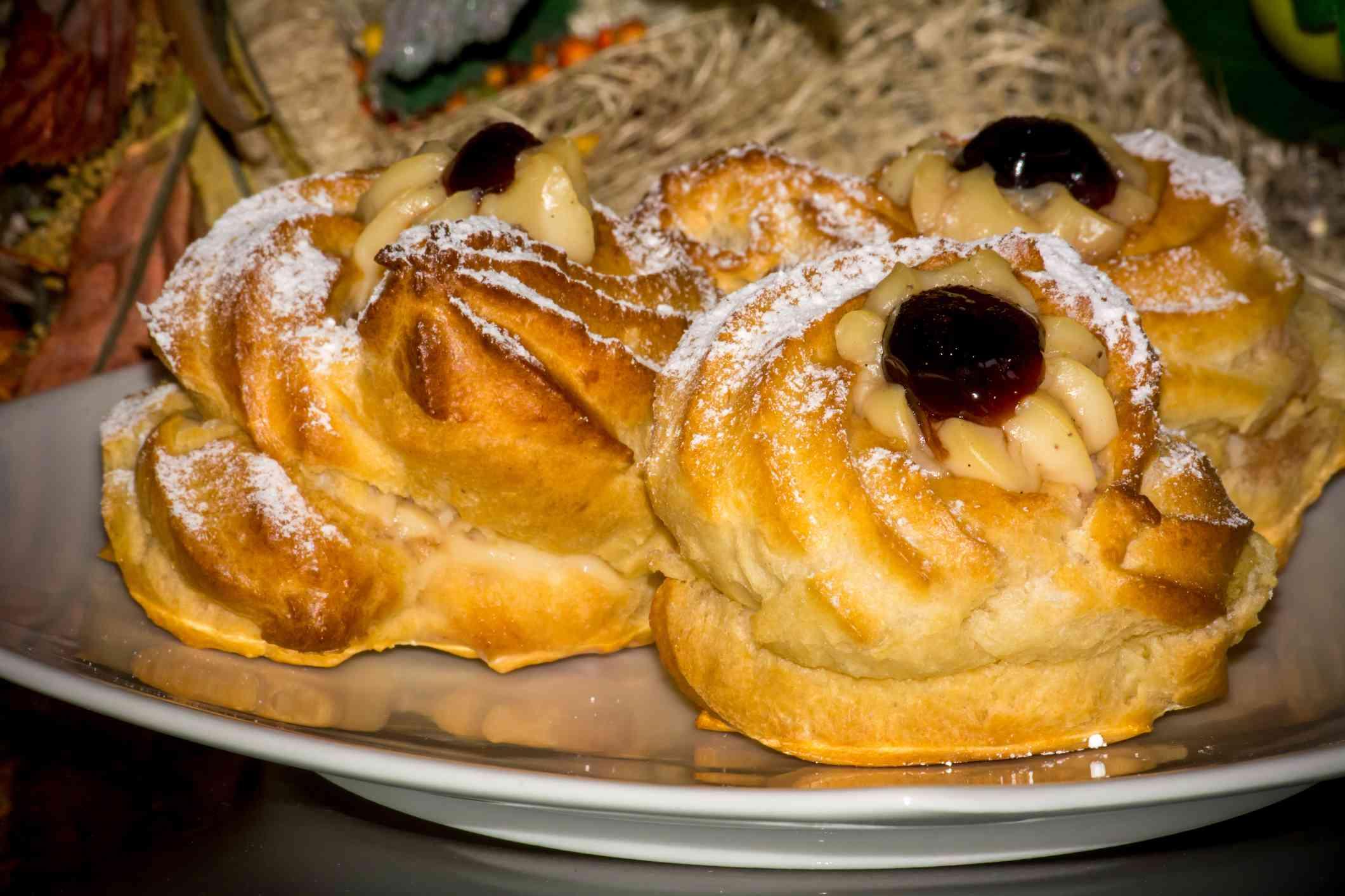 Traditional Baked Italian Food Called Zeppole during Saint Joseph Celebration (Festa de San Giuseppe