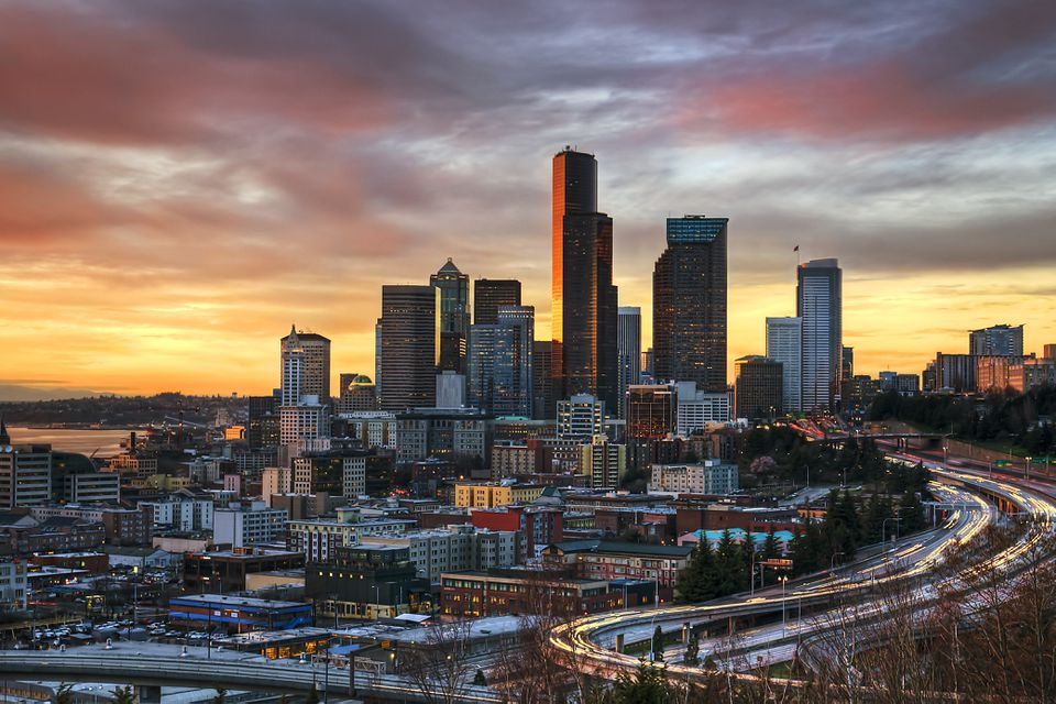 Columbia center and downtown Seattle, Seattle WA, at sunset.