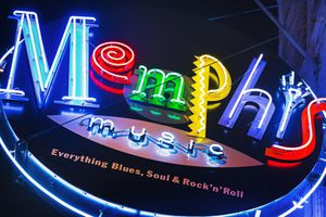 Memphis neon sign on Beale Street
