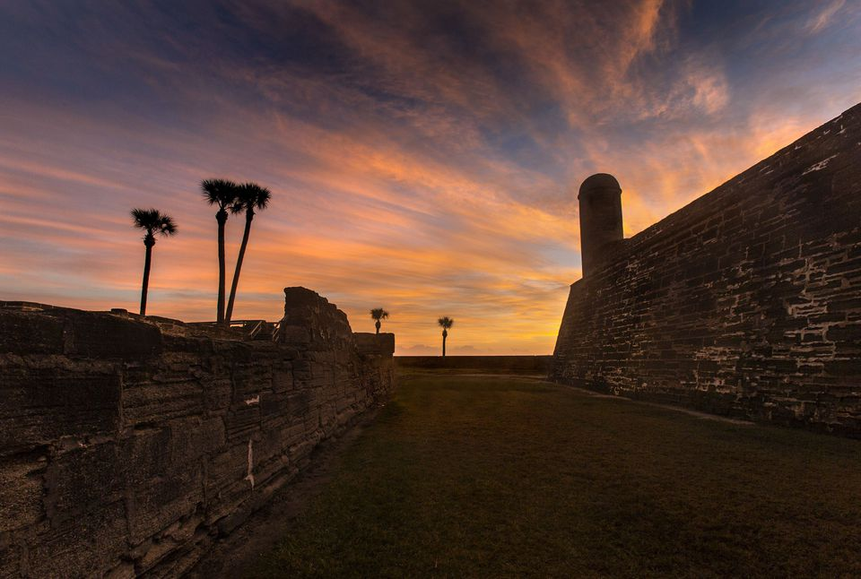 Old fortress at sunrise, St Augustine, Florida, USA