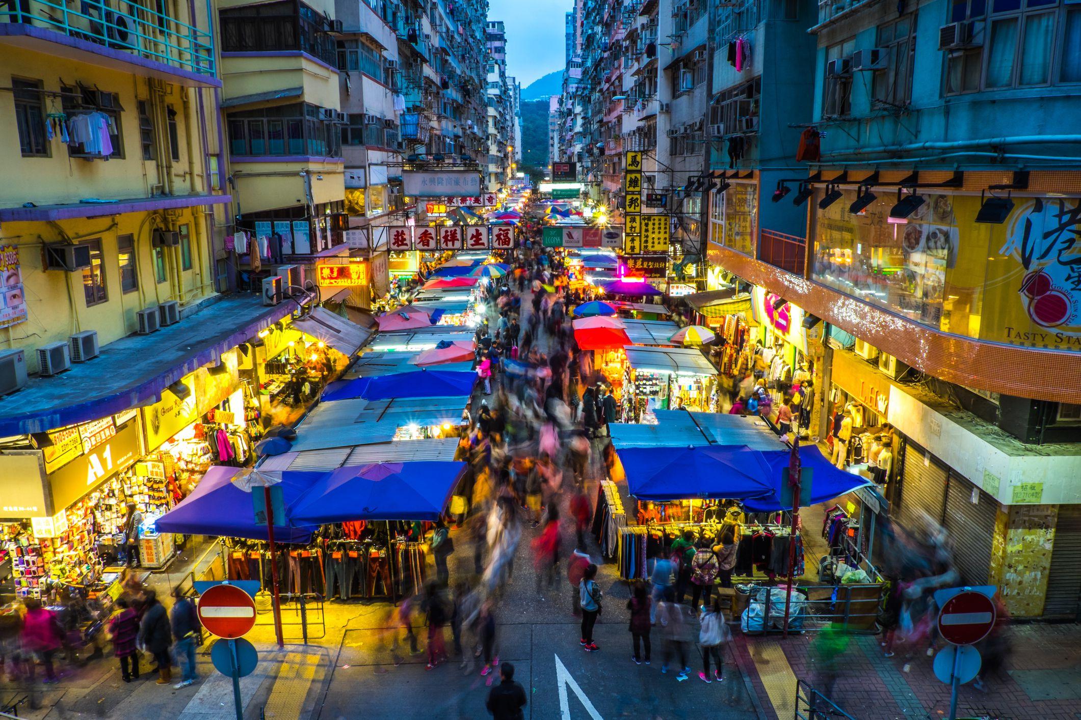 Crowded night market, Mongkok, Kowloon, Hong Kong