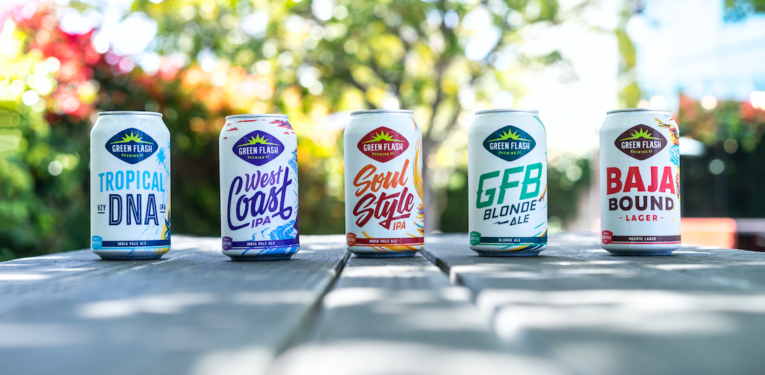 A row of different beers from Green Flash Brewing