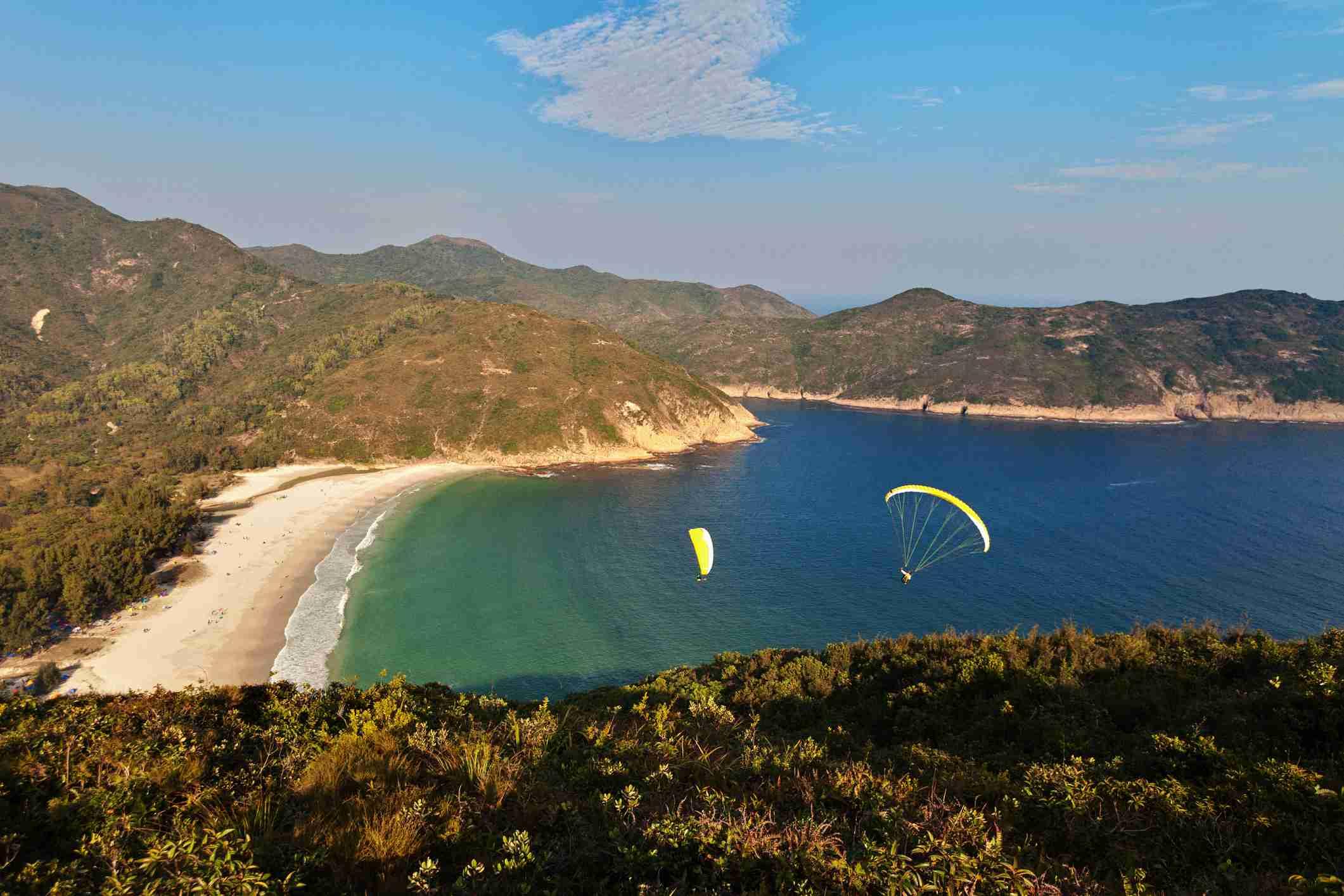 Paragliders above Sai Kung, Hong Kong