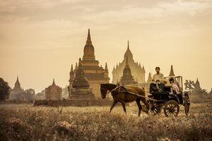 Horse-drawn carriage in Bagan, Myanmar