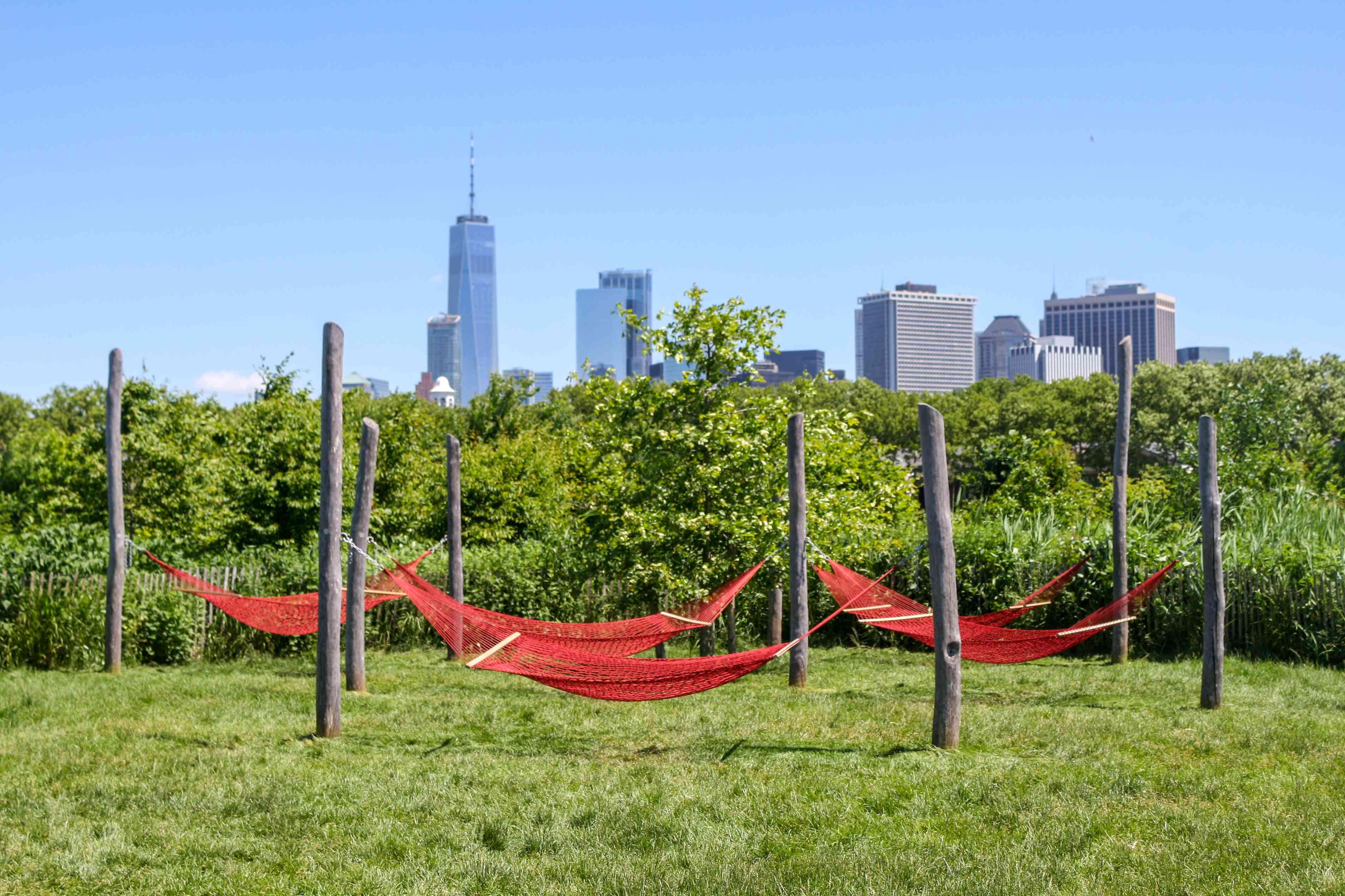 Red hammocks on Governors Island
